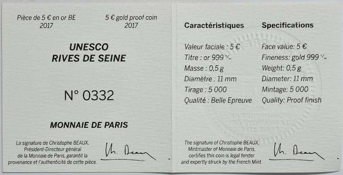 Zertifikat :Frankreich : 5 Euro Ufer der Seine  2017 PP