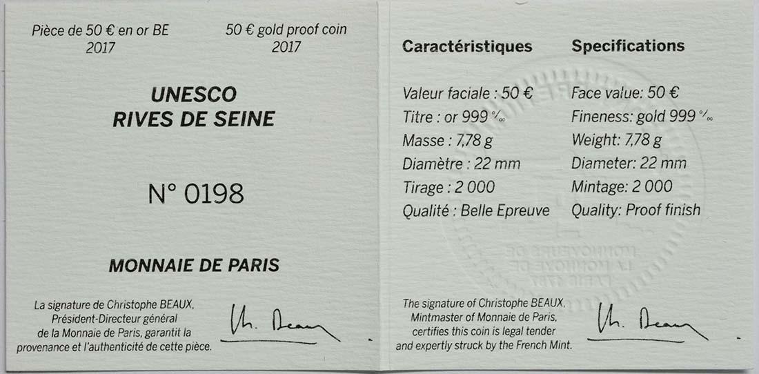 Zertifikat :Frankreich : 50 Euro Ufer der Seine  2017 PP