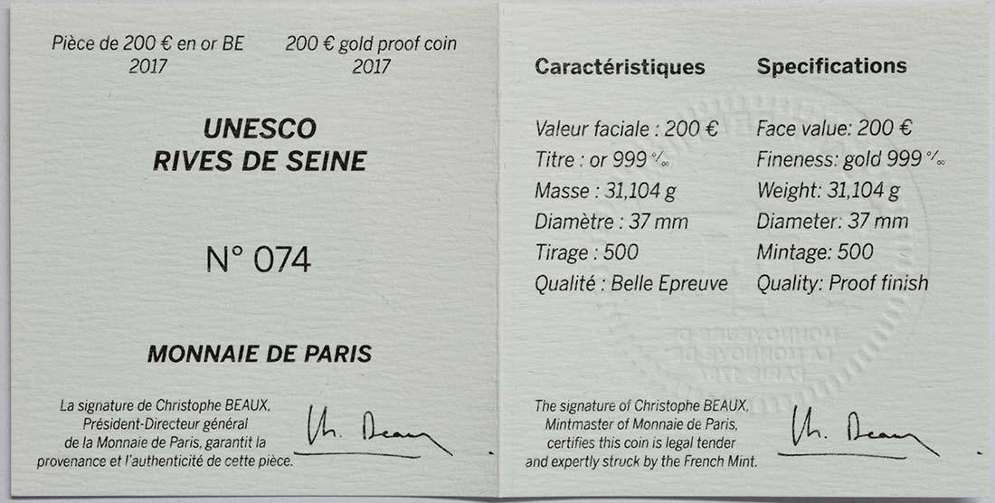 Zertifikat :Frankreich : 200 Euro Ufer der Seine  2017 PP