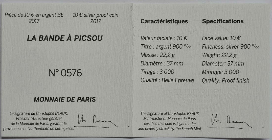 Zertifikat:Frankreich : 10 Euro Dagobert Duck / Scrooge McDuck  2017 PP
