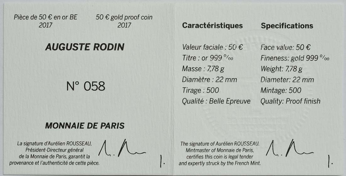 Zertifikat :Frankreich : 50 Euro Auguste Rodin  2017 PP