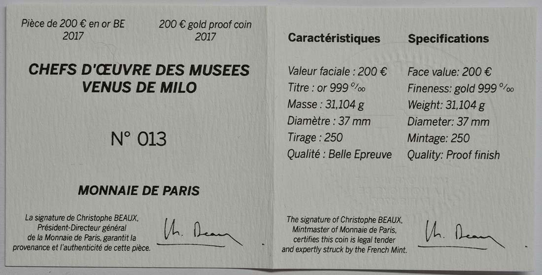 Zertifikat :Frankreich : 200 Euro Venus von Milo  2017 PP