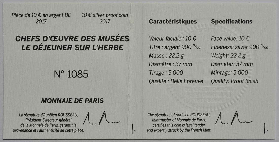 Zertifikat :Frankreich : 10 Euro Frühstück im Grünen  2017 PP
