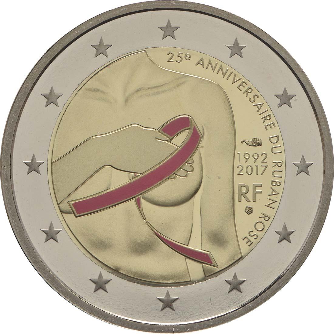 Rückseite:Frankreich : 2 Euro Kampf gegen den Brustkrebs  2017 PP
