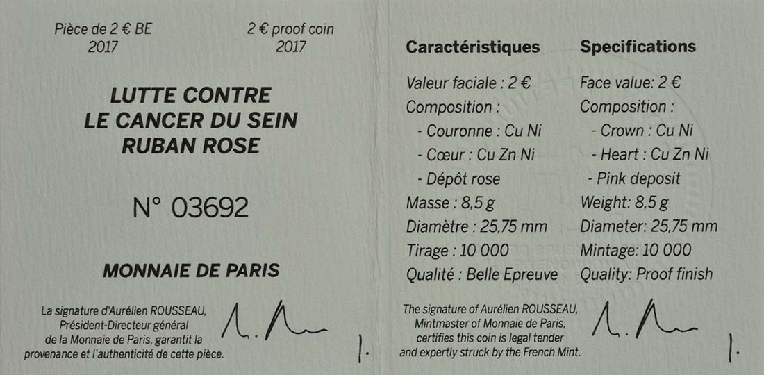 Zertifikat:Frankreich : 2 Euro Kampf gegen den Brustkrebs  2017 PP