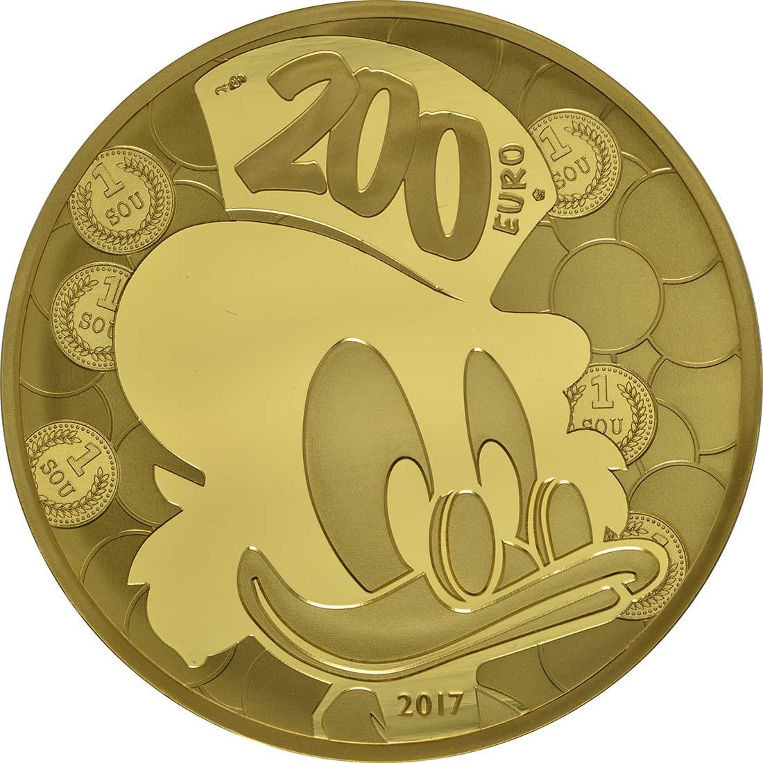 Rückseite:Frankreich : 200 Euro Dagobert Duck / Scrooge McDuck  2017 PP
