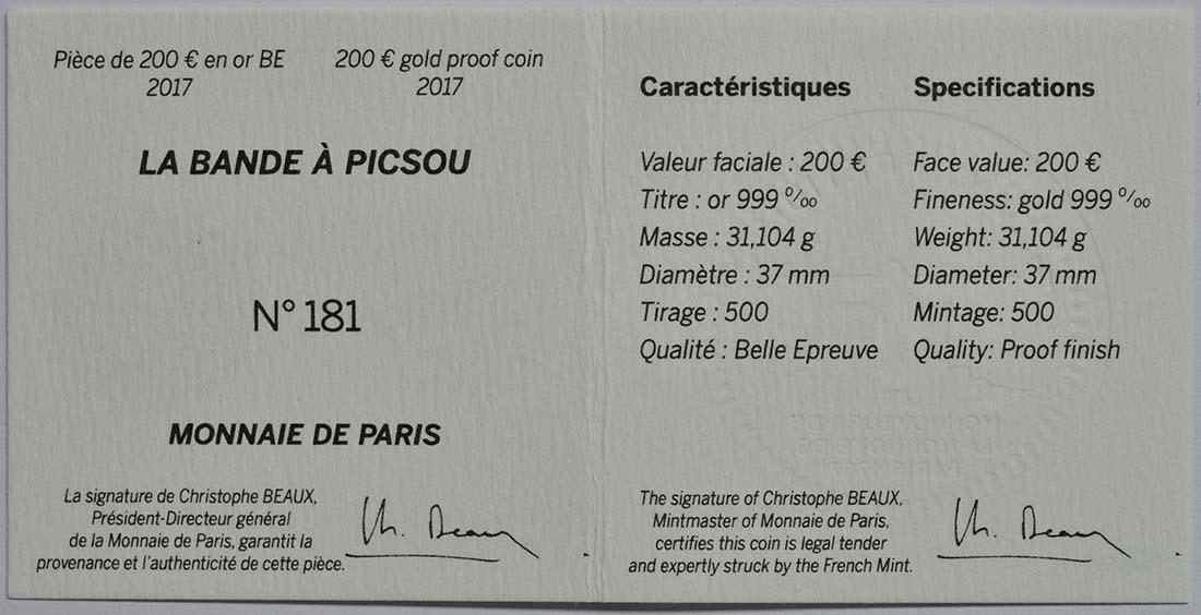 Zertifikat:Frankreich : 200 Euro Dagobert Duck / Scrooge McDuck  2017 PP