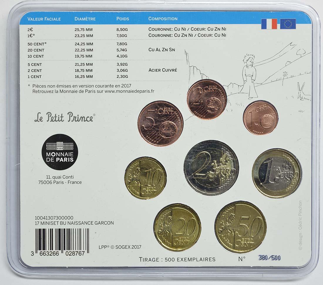 Rückseite :Frankreich : 3,88 Euro Mini KMS Baby Jungen  2017 Stgl.