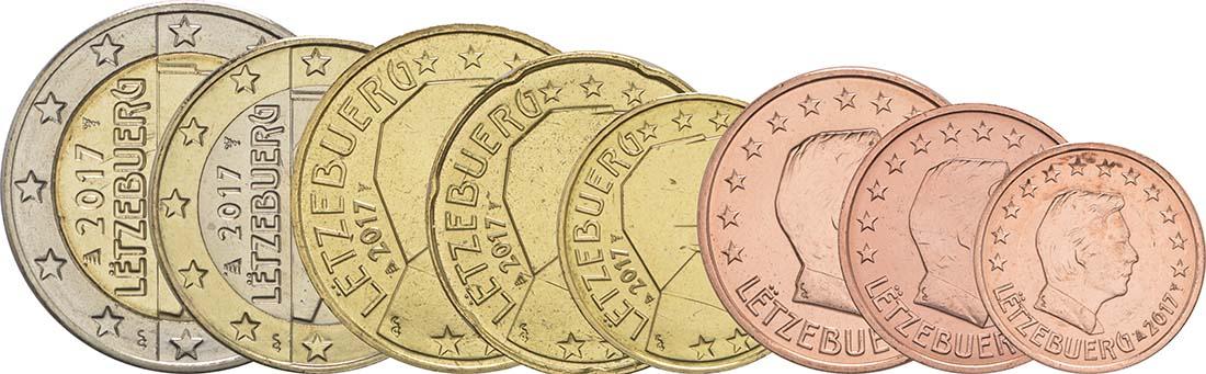 Rückseite :Luxemburg : 3,88 Euro 1+2+5+10+20+50 Cent+1 Euro+2 Euro  2017 bfr