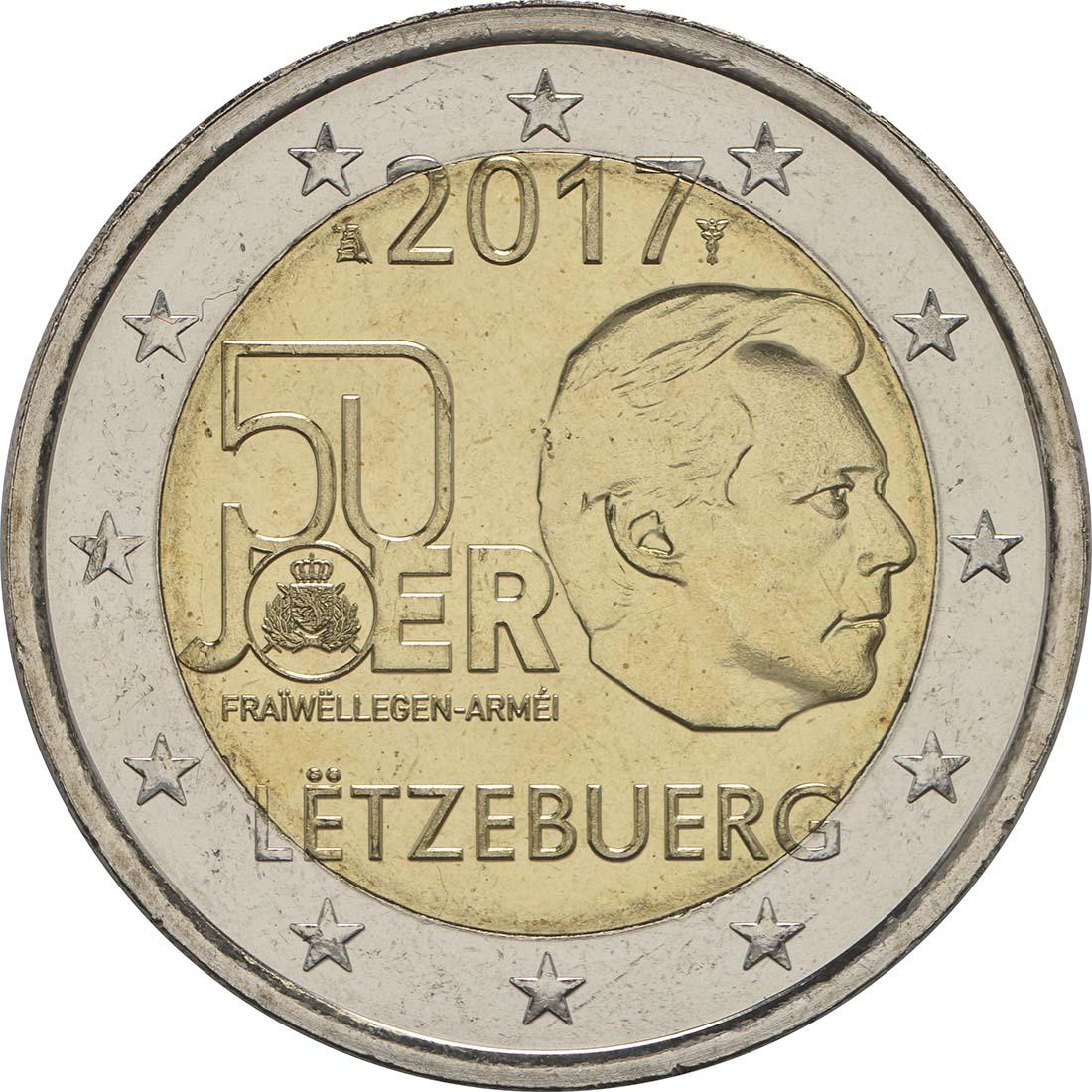 Rückseite :Luxemburg : 2 Euro 50 Jahre Freiwilligenarmee in Luxemburg  2017 bfr