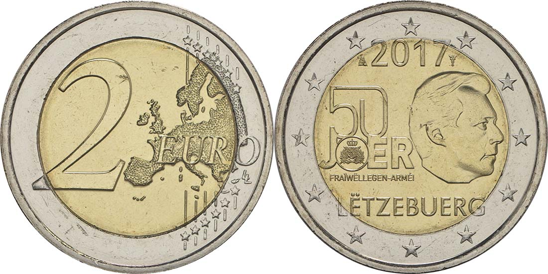 Lieferumfang:Luxemburg : 2 Euro 50 Jahre Freiwilligenarmee in Luxemburg  2017 bfr