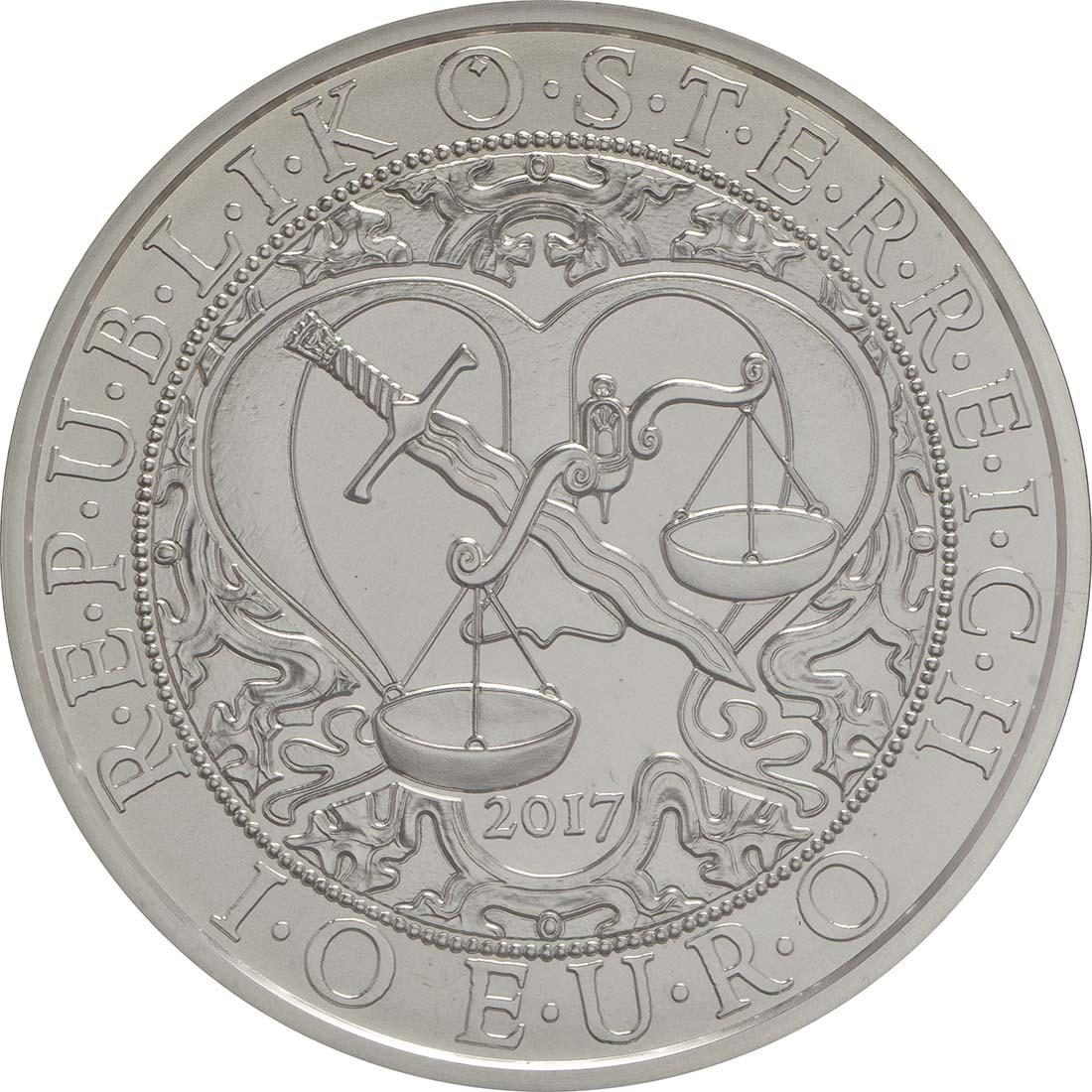 Rückseite:Österreich : 10 Euro Michael - der Schutzengel  2017 Stgl.