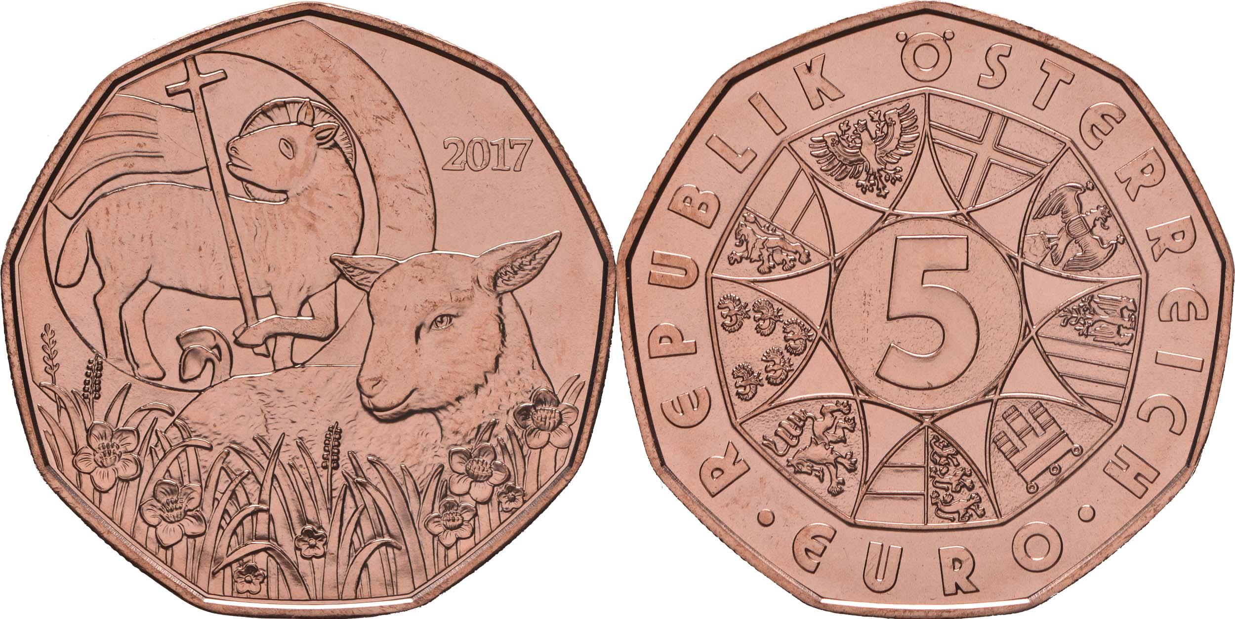 Österreich : 5 Euro Osterlamm  2017 Stgl.