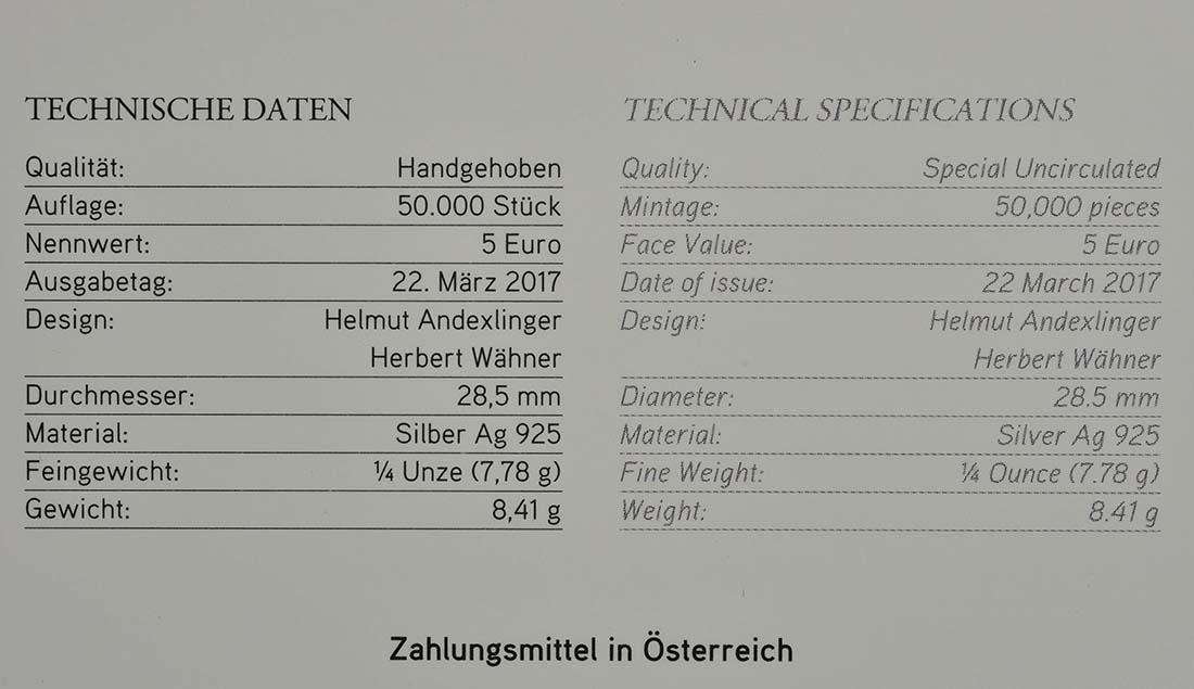 Zertifikat :Österreich : 5 Euro Osterlamm  2017 Stgl.