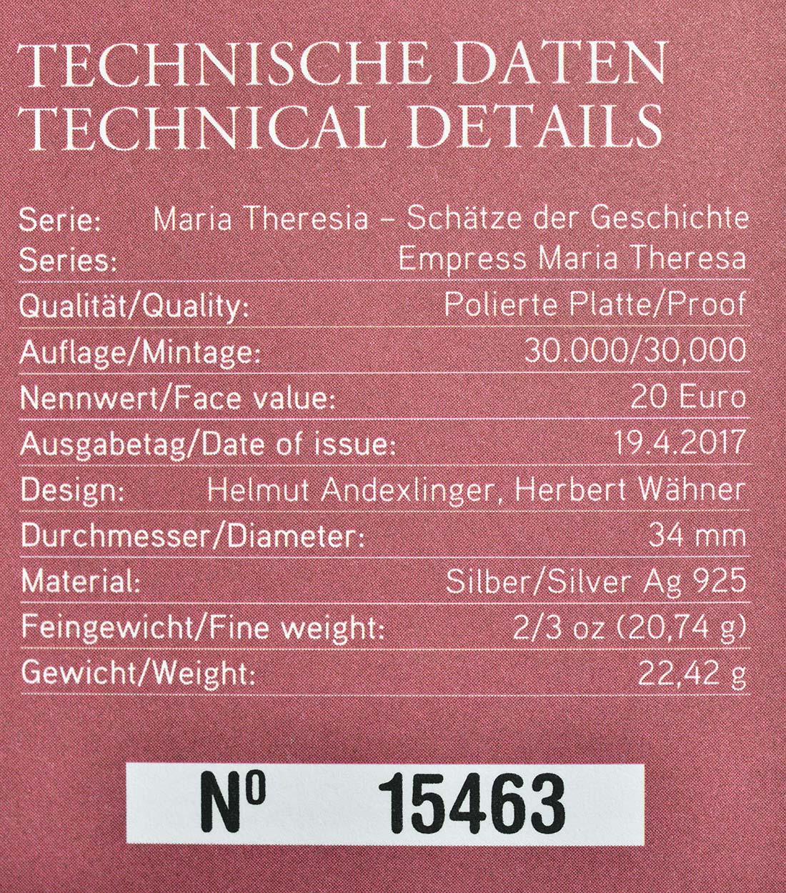 Zertifikat :Österreich : 20 Euro Tapferkeit und Entschlossenheit  2017 PP
