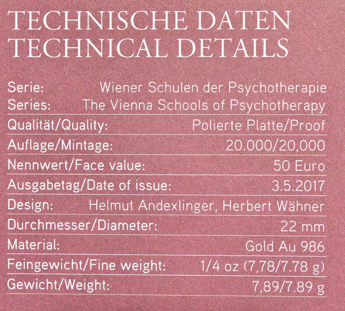 Zertifikat :Österreich : 50 Euro Sigmund Freud  2017 PP