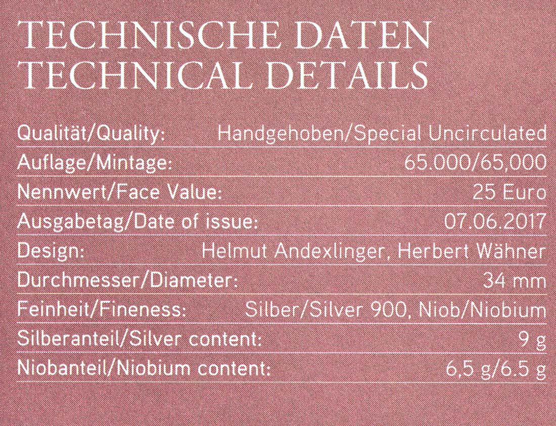 Zertifikat:Österreich : 25 Euro Der Mikrokosmos  2017 Stgl.