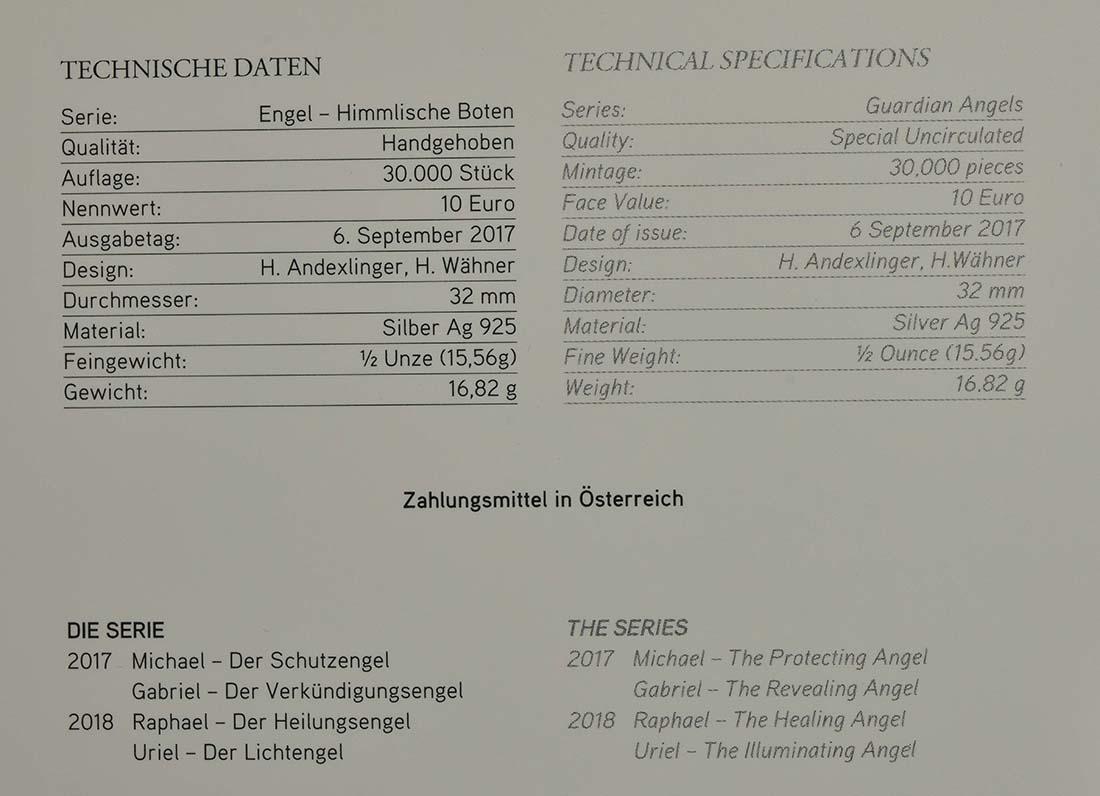 Zertifikat :Österreich : 10 Euro Gabriel - der Verkündigungsengel-  2017 Stgl.