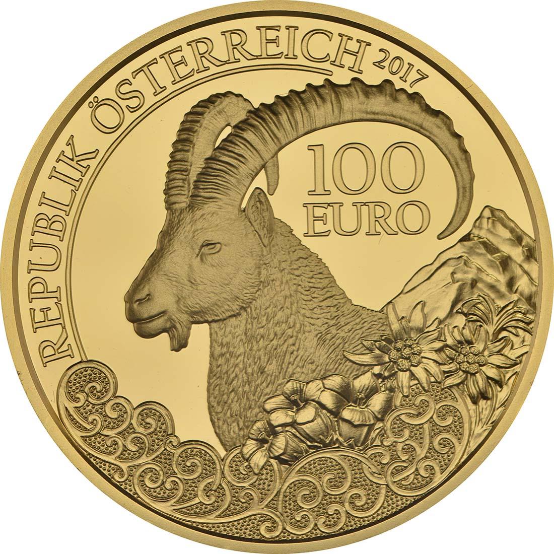 Rückseite:Österreich : 100 Euro Steinbock  2017 PP