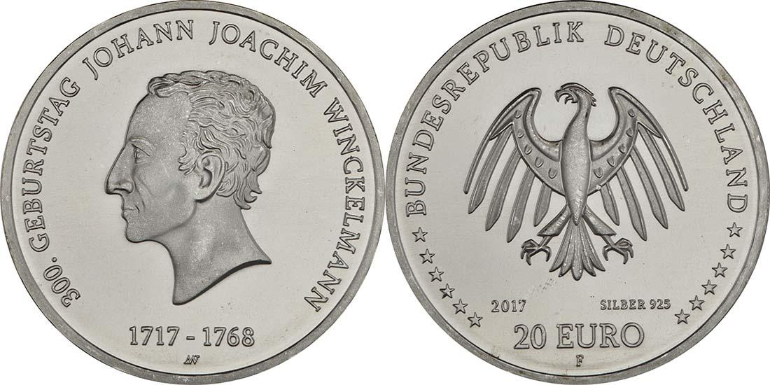 Deutschland : 20 Euro 300. Geburtstag Johann Joachim Winckelmann  2017 bfr
