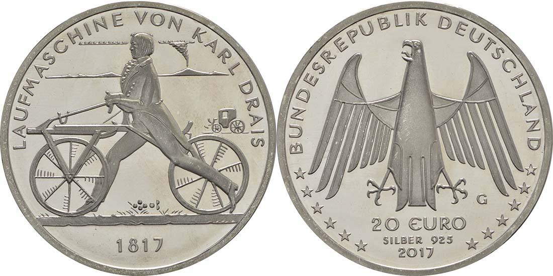 Deutschland : 20 Euro Laufmaschine von Karl Drais 1817  2017 bfr