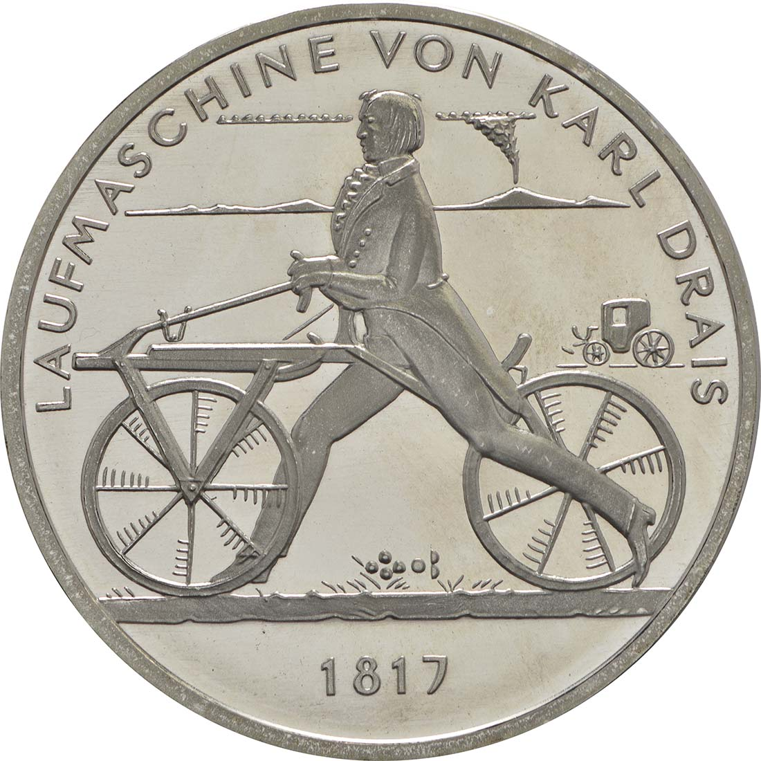 Vorderseite:Deutschland : 20 Euro Laufmaschine von Karl Drais 1817  2017 bfr