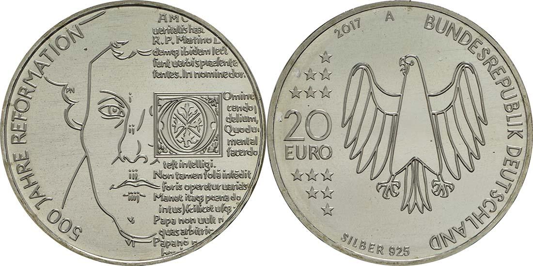 Deutschland : 20 Euro 500 Jahre Reformation  2017 bfr