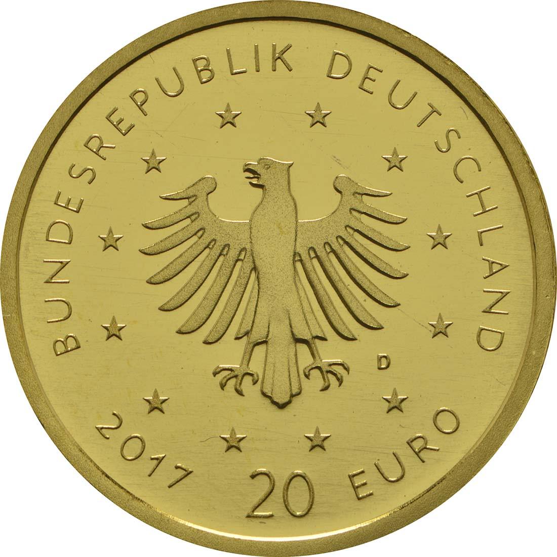 Rückseite:Deutschland : 20 Euro Pirol Buchstabe unserer Wahl  2017 Stgl.