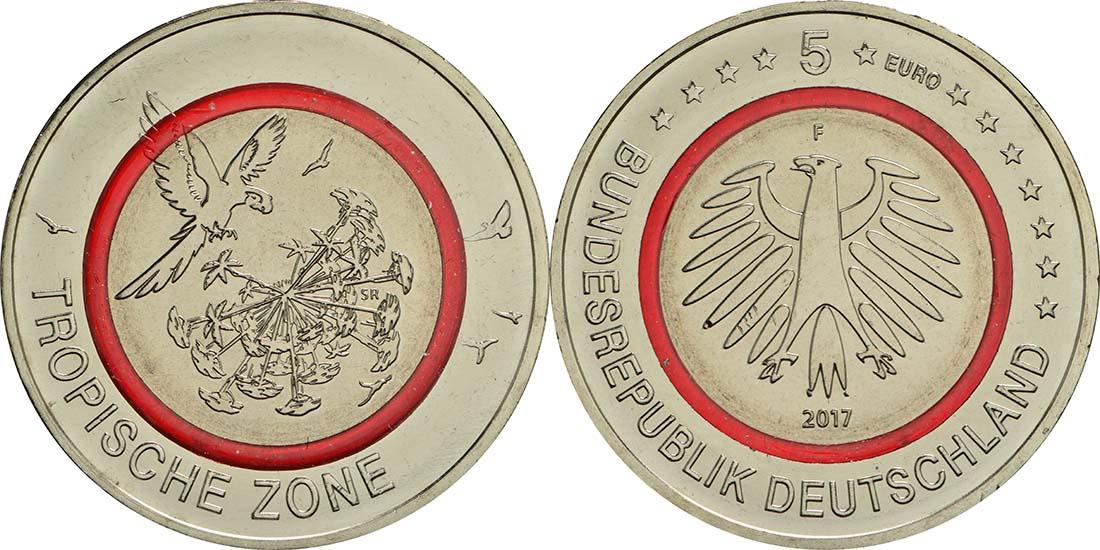 Lieferumfang:Deutschland : 5 Euro Tropische Zone  2017 bfr