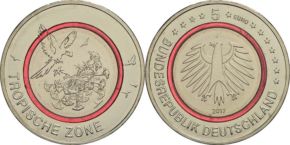 5 Euro Münze Tropische Zone 2017 Bfr