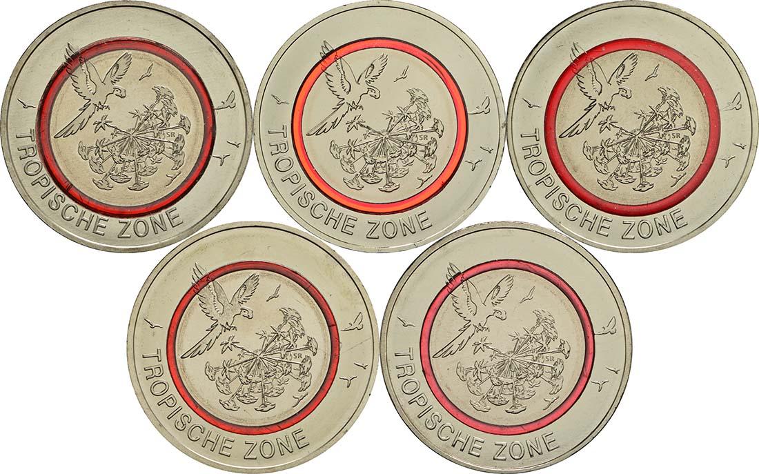 5 Euro Tropische Zone Komplettsatz 5 Münzen 2017 Bfr