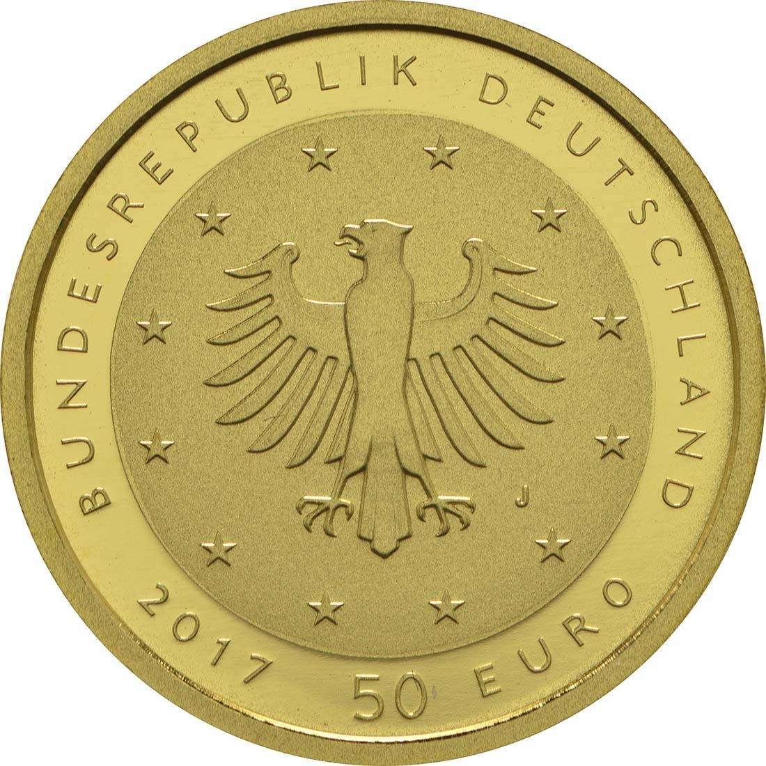 Rückseite:Deutschland : 50 Euro Lutherrose  2017 Stgl.