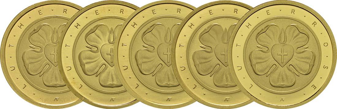 Vorderseite:Deutschland : 50 Euro Lutherrose Komplettsatz ADFGJ 5 Münzen  2017 Stgl.