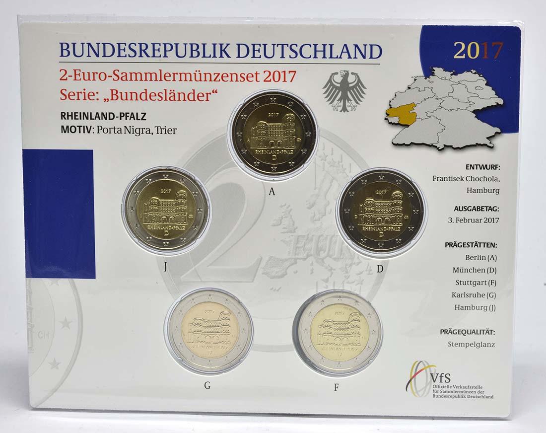 Deutschland : 2 Euro Rheinland-Pfalz - Porta Nigra Komplettsatz 5x2 Euro  2017 Stgl.