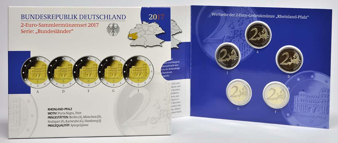 Deutschland : 2 Euro Rheinland-Pfalz - Porta Nigra Komplettsatz 5x2 Euro  2017 PP