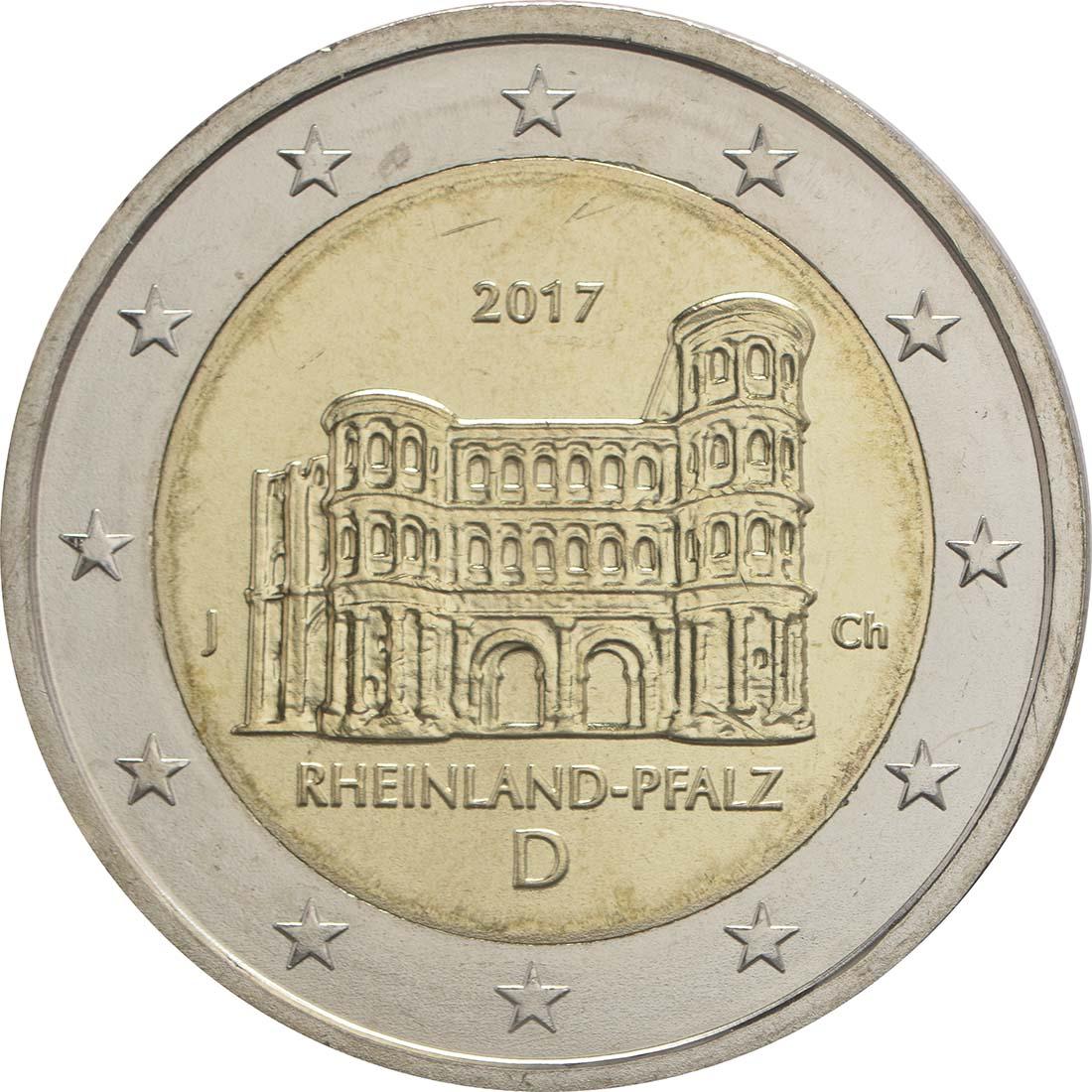 Rückseite:Deutschland : 2 Euro Rheinland-Pfalz - Porta Nigra Buchstabe unserer Wahl  2017 bfr