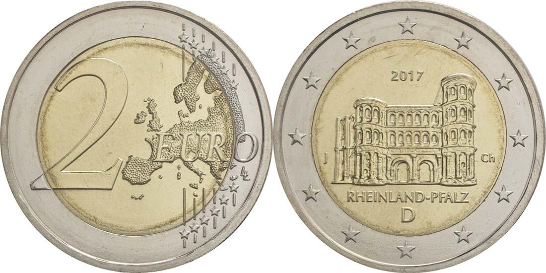 Übersicht:Deutschland : 2 Euro Rheinland-Pfalz - Porta Nigra Buchstabe unserer Wahl  2017 bfr