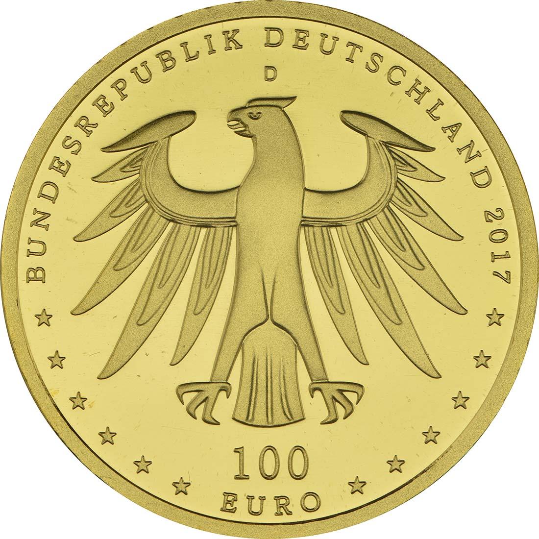 Rückseite:Deutschland : 100 Euro Luthergedenkstätten Eisleben und Wittenberg  2017 Stgl.
