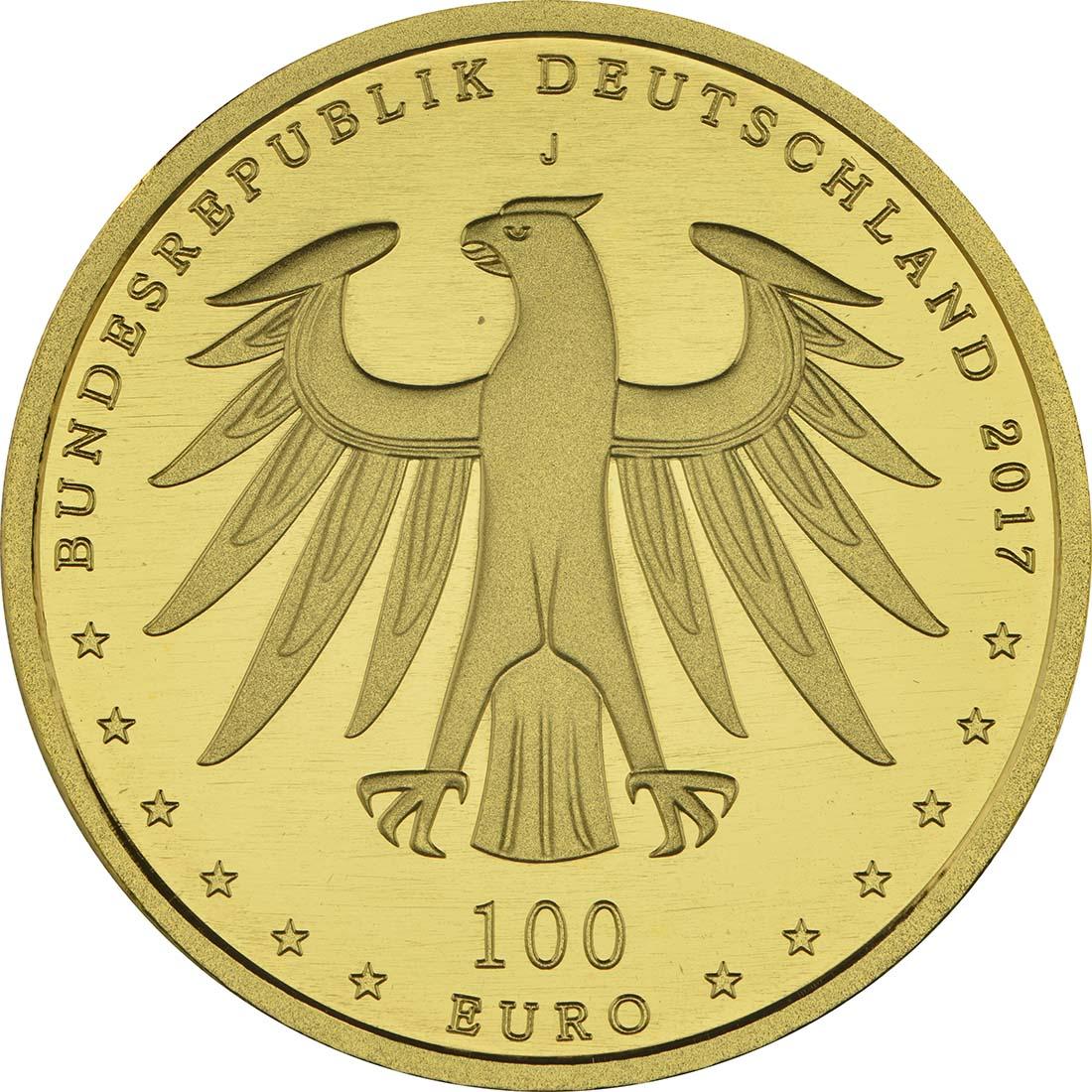 Rückseite:Deutschland : 100 Euro Luthergedenkstätten Eisleben und Wittenberg Buchstabe unserer Wahl  2017 Stgl.