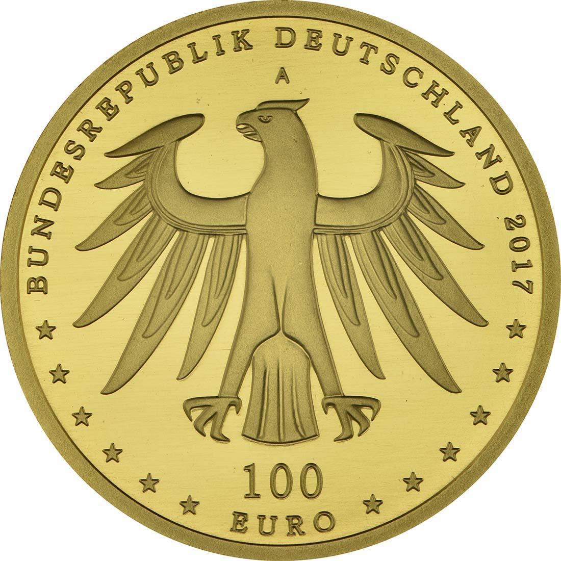 Rückseite :Deutschland : 100 Euro Luthergedenkstätten Eisleben und Wittenberg Komplettsatz ADFGJ 5 Münzen  2017 Stgl.