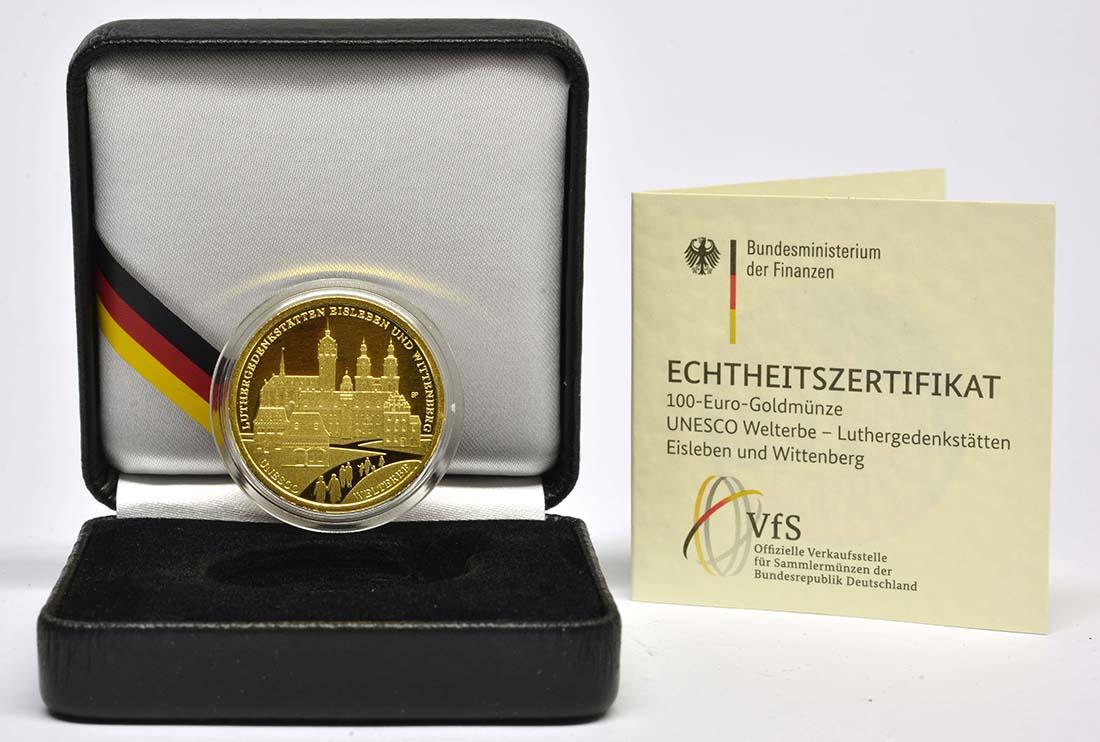 Übersicht:Deutschland : 100 Euro Luthergedenkstätten Eisleben und Wittenberg Komplettsatz ADFGJ 5 Münzen  2017 Stgl.