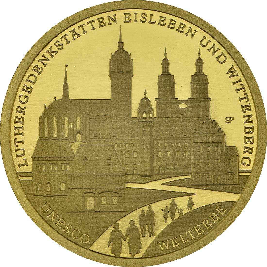 Vorderseite:Deutschland : 100 Euro Luthergedenkstätten Eisleben und Wittenberg Komplettsatz ADFGJ 5 Münzen  2017 Stgl.