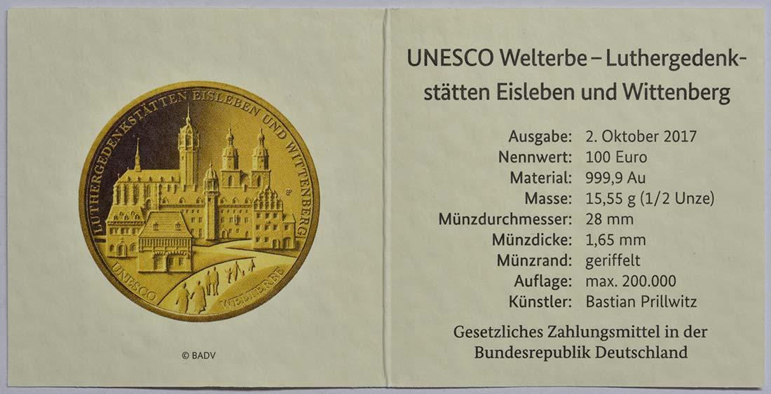 Zertifikat :Deutschland : 100 Euro Luthergedenkstätten Eisleben und Wittenberg Komplettsatz ADFGJ 5 Münzen  2017 Stgl.