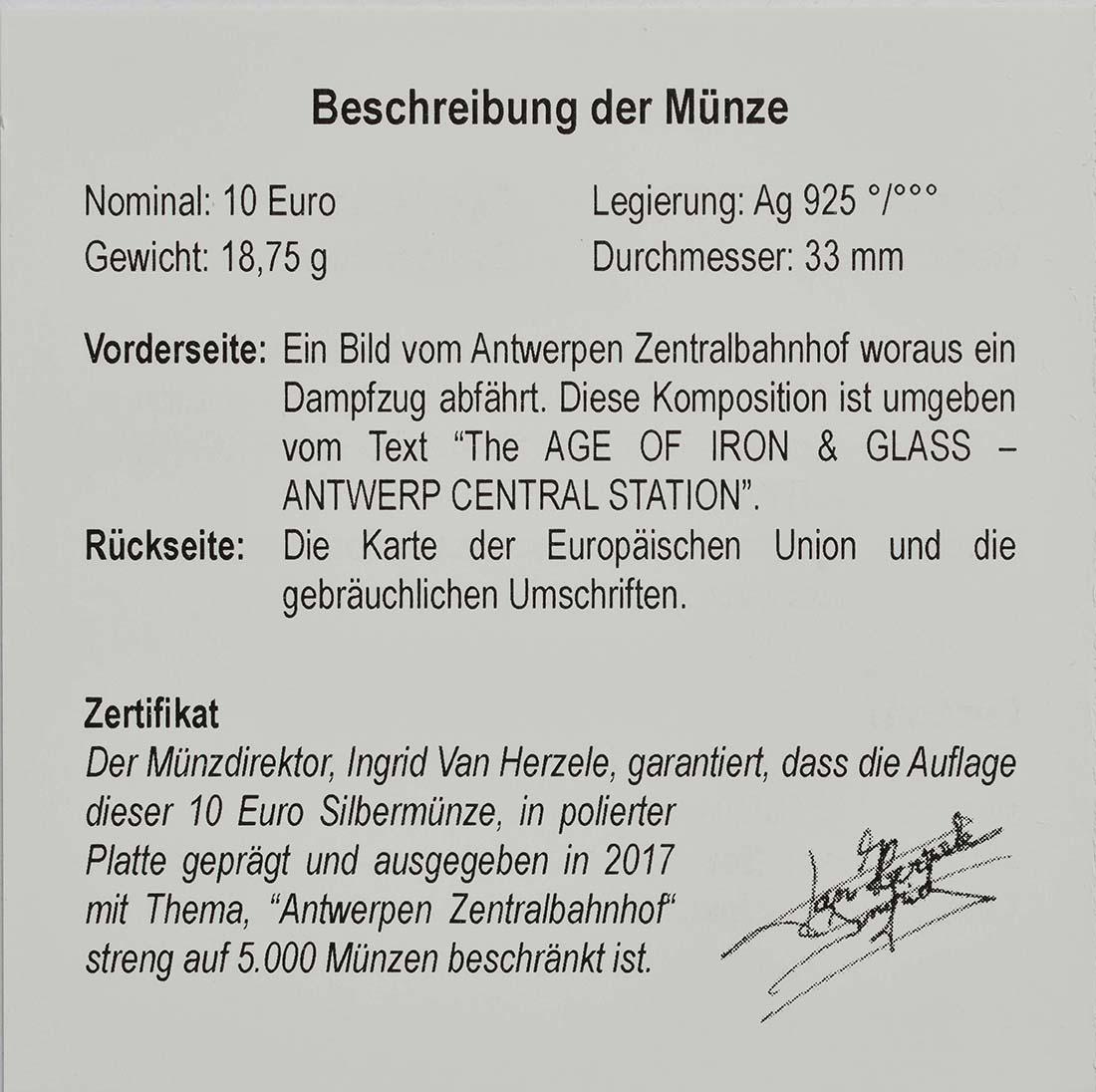 Zertifikat:Belgien : 10 Euro Hauptbahnhof von Antwerpen  2017 PP