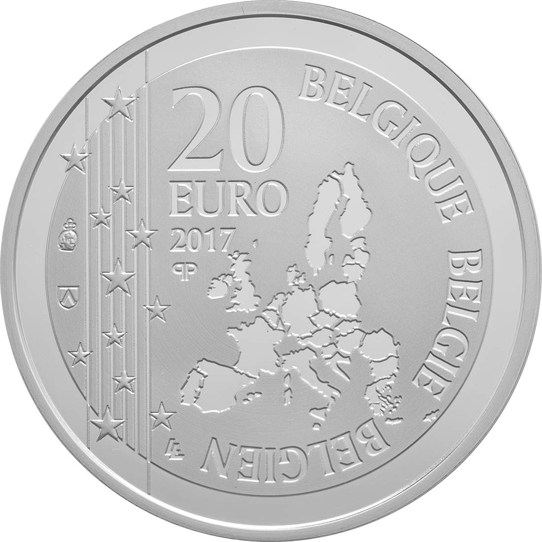 Rückseite:Belgien : 20 Euro Toots Thielemans  2017 PP