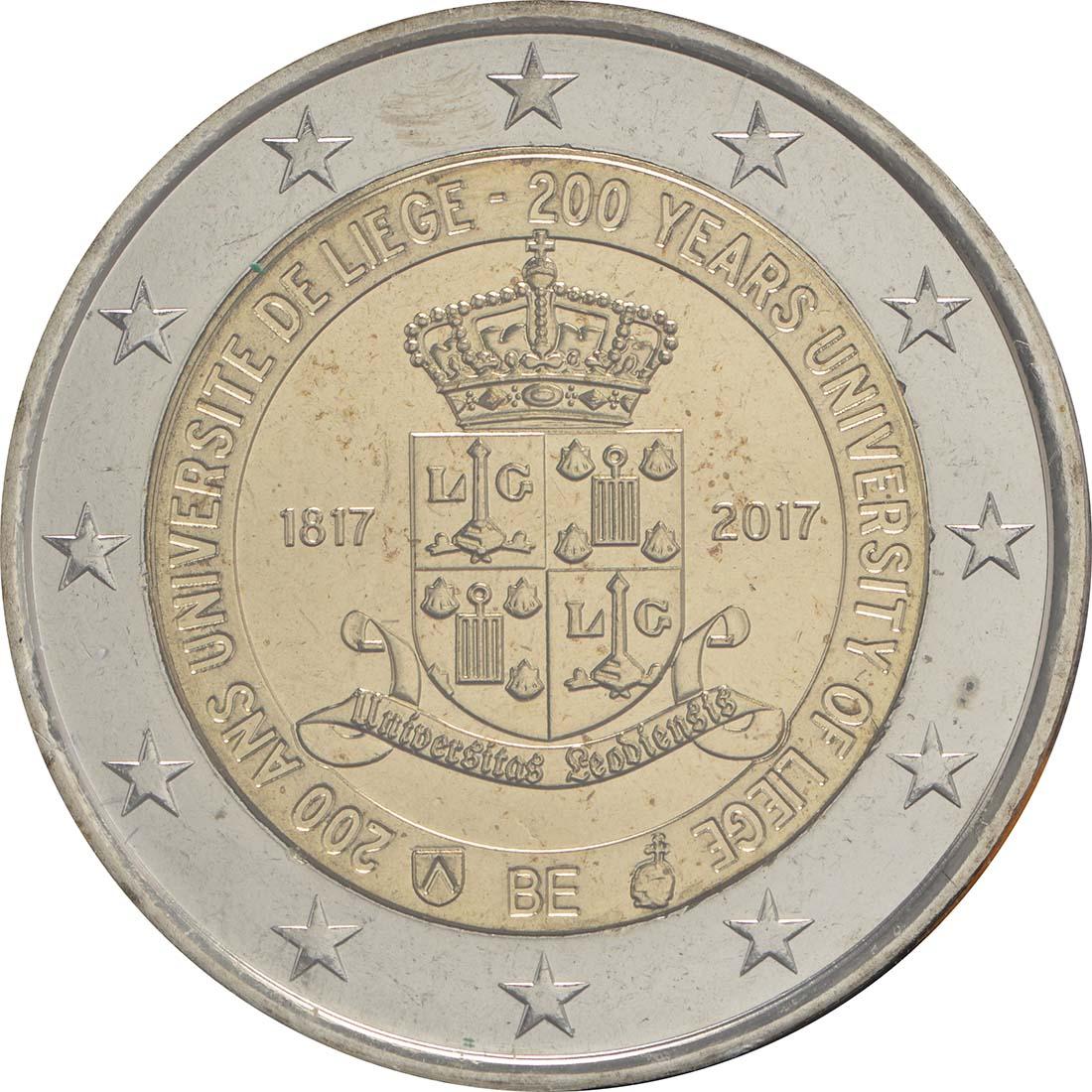 Rückseite:Belgien : 2 Euro 200 Jahre Universität zu Lüttich  2017 bfr