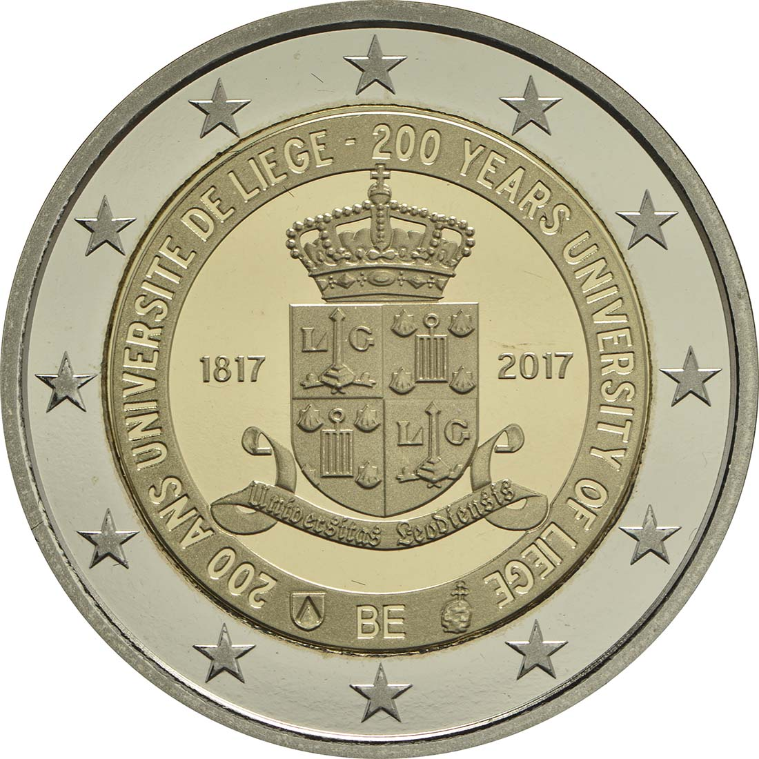 Rückseite :Belgien : 2 Euro 200 Jahre Universität zu Lüttich  2017 PP