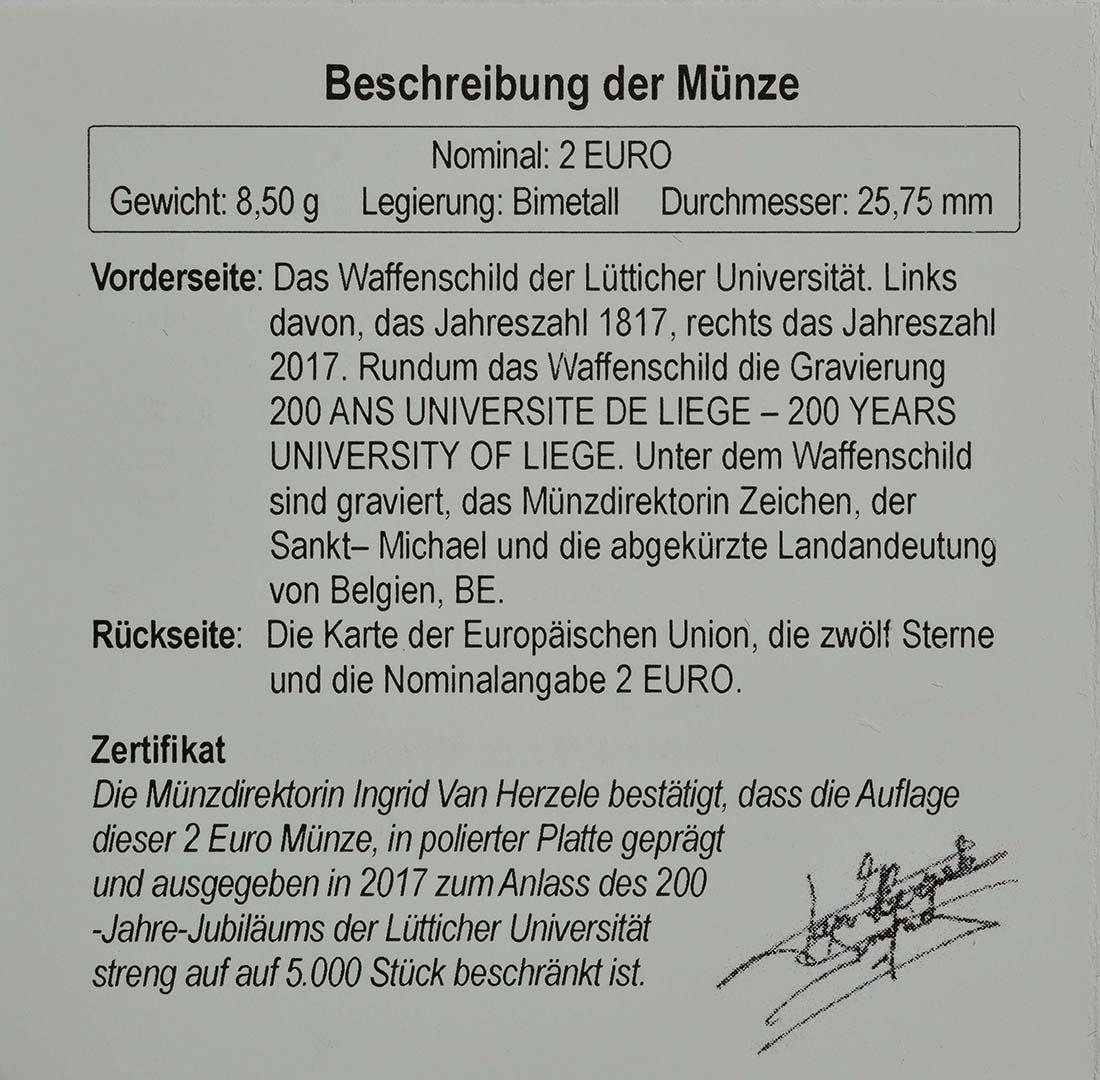 Zertifikat :Belgien : 2 Euro 200 Jahre Universität zu Lüttich  2017 PP