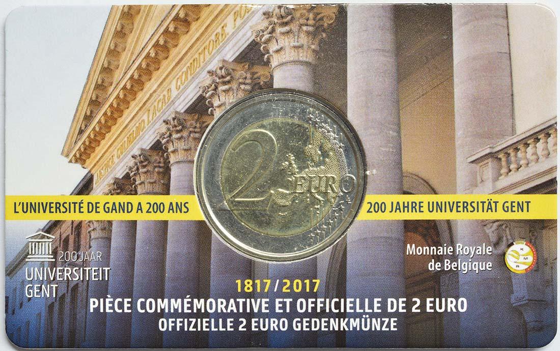 Rückseite:Belgien : 2 Euro 200 Jahre Universität zu Gent  2017 Stgl.