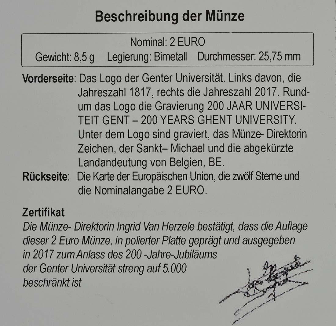 Zertifikat:Belgien : 2 Euro 200 Jahre Universität zu Gent  2017 PP